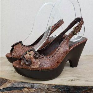 Vince Camuto Leather Slingback Platform Heels